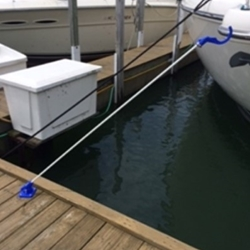 Keep your dock lines dry, out of the water, and safely off and away from dockside walkways. lines stay within safe and easy reach. Mounts on any flat surface. Mounts vertically or horizontally. Adjusts through 90 degrees. The arm is approximately 6  ft long. Fasteners included.